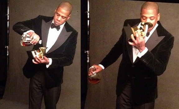 Jay-Z Sips Cognac Directly From His Grammy Award