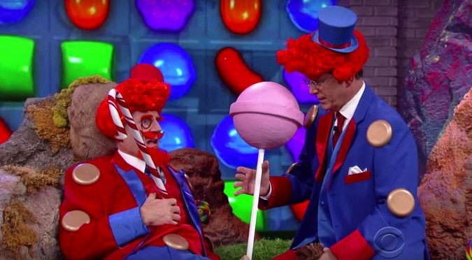 Stephen Colbert And Liam Neeson In… Candy Crush: The Movie